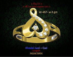 silver gold ladies ring 3D model low-poly