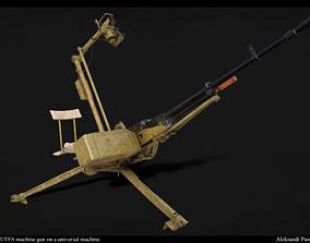 3D model NSV-12-7 mm UTES machine gun on a universal