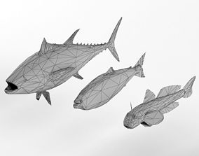 Low Poly Fish and Tuna Set Animal Lowpoly 3D model