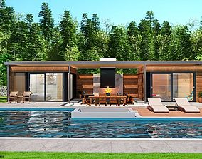 swimming-pool pool house with fireplace and sauna 3d model