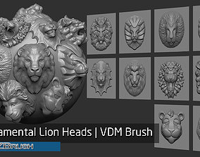 3D model Zbrush - 10 Ornamental Lion Heads VDM Brush