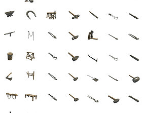 blacksmith tools 3D asset