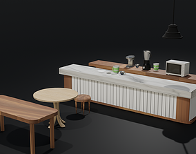 Low Poly Cafe Assets low-poly