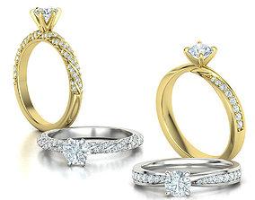 Two Engagement Rings Half Carat Stones 3D model 2