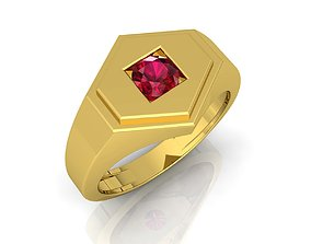 Ruby Stone Mens Ring 3D printable model