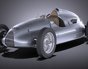 3D Auto Union Type D 1938 race car