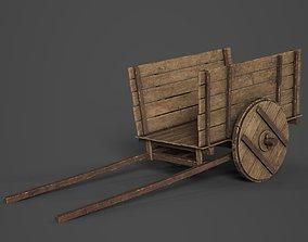 3D model low-poly Wooden Cart