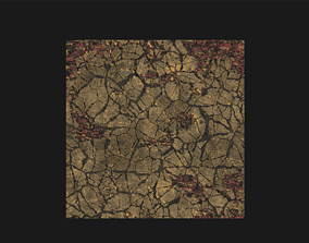 Cracked ground procedural material 3D model