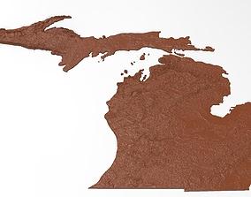 Michigan Relief Map 3D printable model