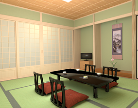 Traditional Japanesestyle inn interior 3D