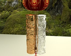 3D model asian palace Chinese red lantern