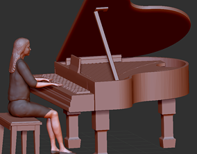 pianist woman sitting woman piano 3D printable model
