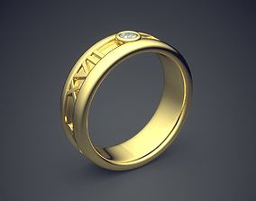 Classic Golden Engagement Ring 3D print model 5