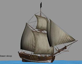 Big Carribbean sloop 3D model