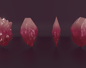 Lowpoly PBR Crystals 3D asset