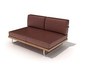 3D Brown Leather Sofa minimalist