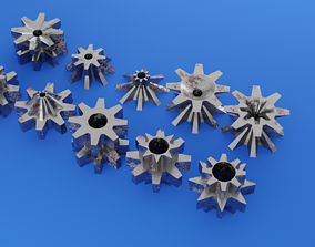 3D asset Eight-tooth gears with partial wear and rust