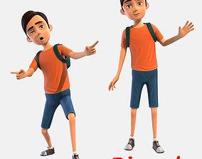 Cartoon Boy 3D asset rigged