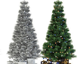 3D model plant Christmas tree with gifts