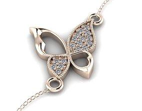 3D printable model butterfly bracelet with gem