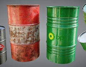 Oil Barrels Pack 3D asset game-ready