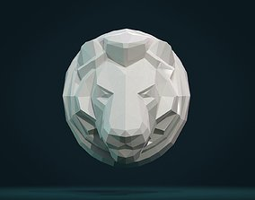 3D printable model Lion Head low Poly