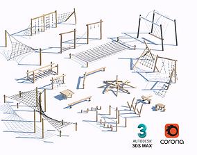 3D model children wooden playground equipment set 07