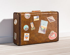 Classic brown suitcase 3D