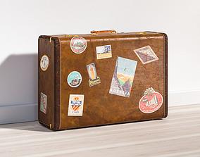 Classic brown suitcase 3D