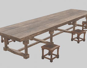 3D Medieval long table with chairs