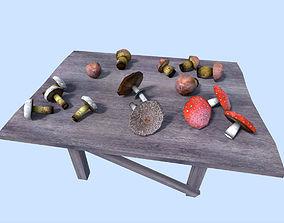 3D asset low poly mushrooms pack