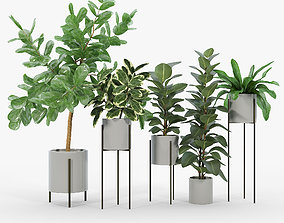 Dundee Light Grey Planters with Stands 3D model trade