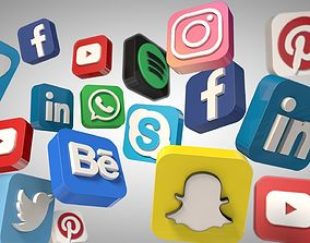 Social Media Icons 3d game-ready