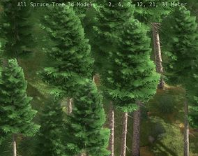 3D asset game-ready Spruce Tree Package