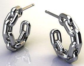 Chain Earring size 15 mm 3D printable model 3D asset