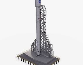 3D model Falcon 9 Spaceship With The Launchpad