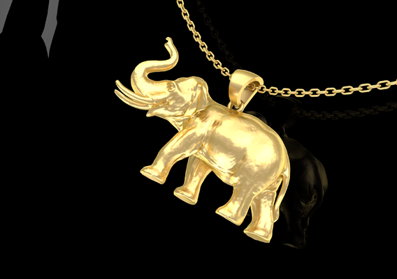 Big Elephant Pendant Jewelry Gold 3D print model