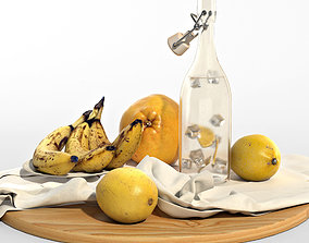 Set of yellow fruits 3D model
