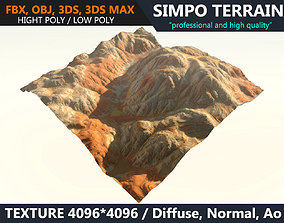 3D model Low poly Realistic Desert Mountain Terrain 01 - 1