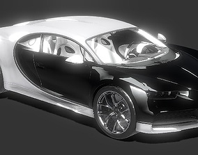low-poly Bugatti Chiron 3D Model of Hyper Car