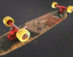 Longboard Deck for game 3D low-poly