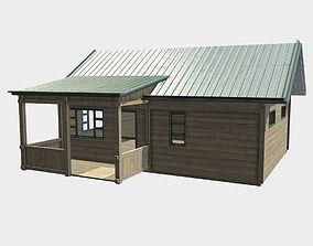 3D asset Low Poly PBR Wood Cabin