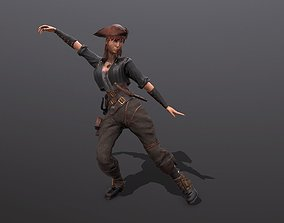 Pirate girl 3D model animated