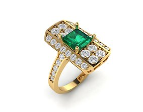 Emerald square ring with diamond high 3D printable model 1