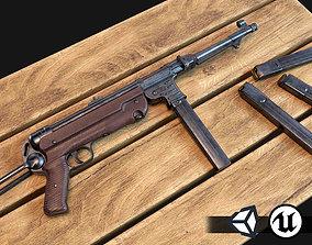 3D model World War II - MP40 Submachine Gun - PBR and Game