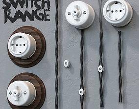 Retro porcelain light switch and socket 3D model