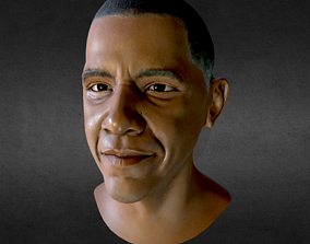 3D asset Barack Obama PBR Head Low-Poly VR AR Game-Ready