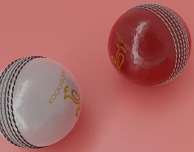 ball RED AND WHITE KOOKABURRA CRICKET BALL 3D