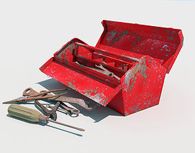 3D model old toolbox with tools