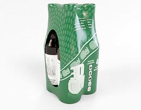 4 pack 500ml bottles in a plastic shrinkwrap 3D model